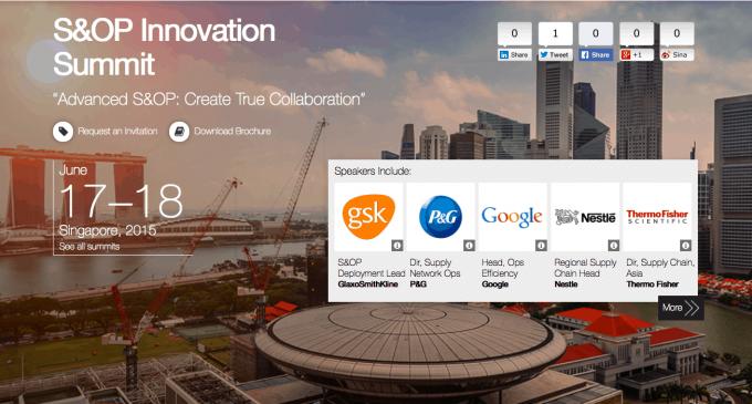 S&OP Innovation Summit – SINGAPORE 2015